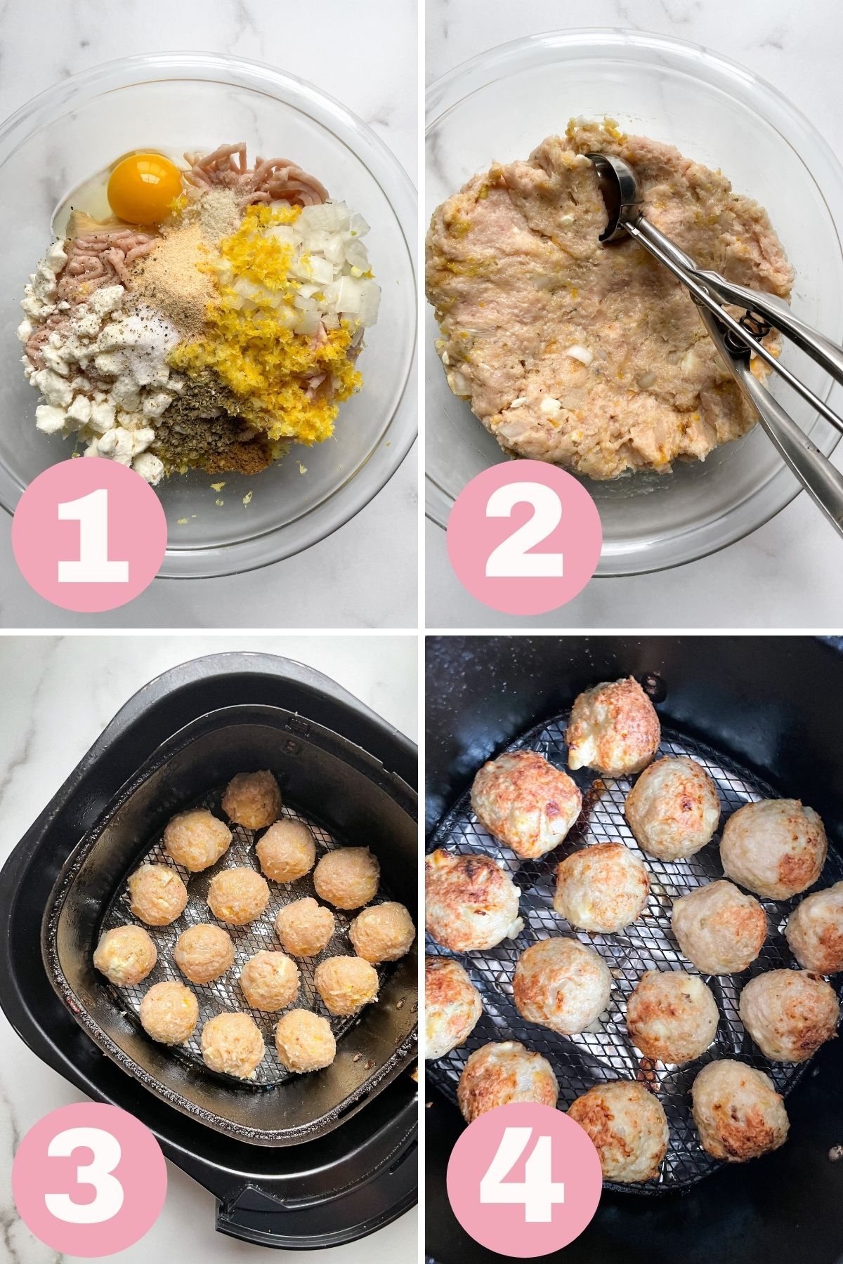 4 steps how to make chicken meatballs