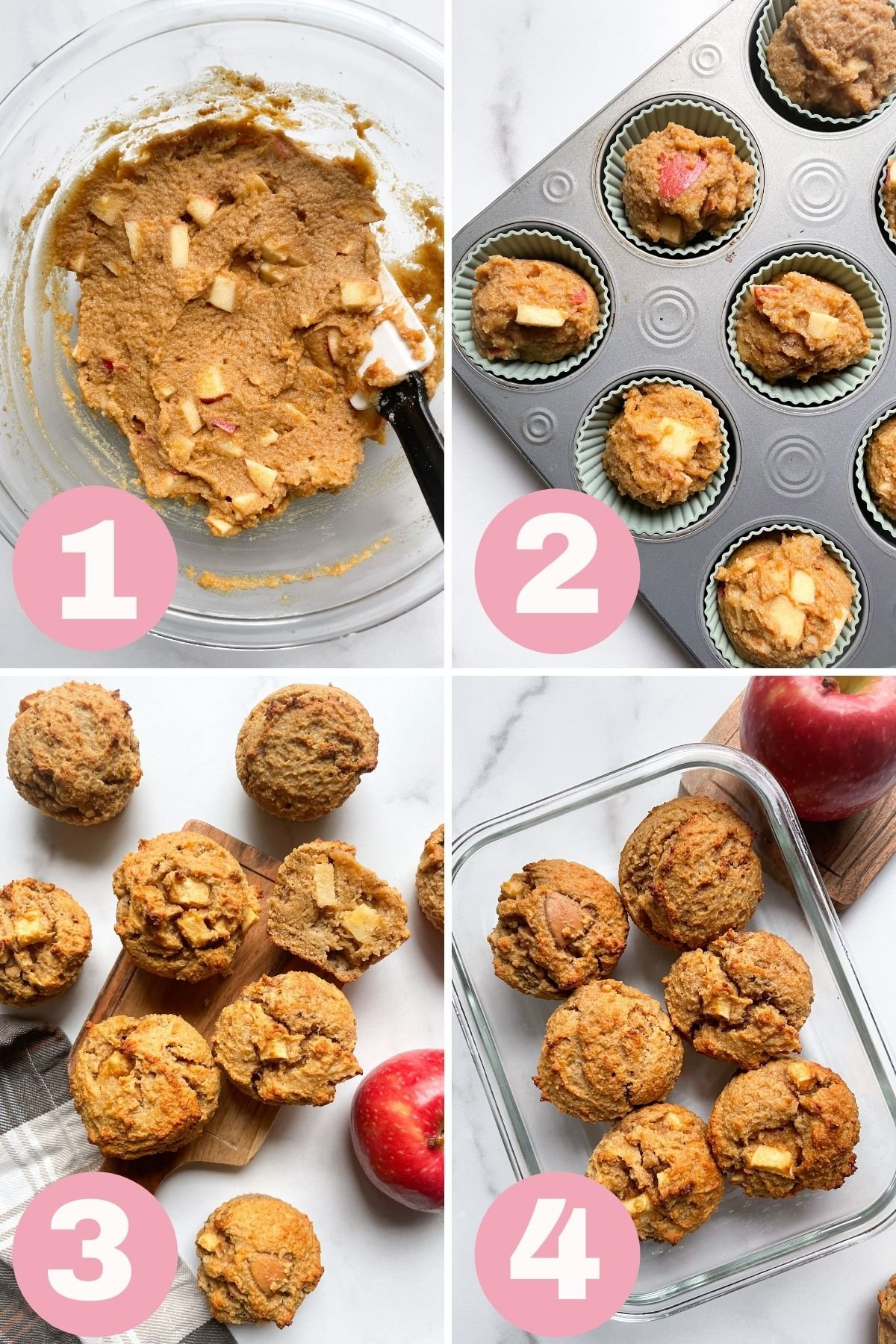 4 steps how to make Healthy Peanut Butter Apple Muffins