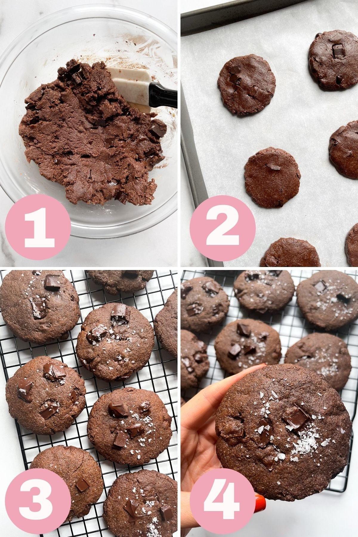 4 Steps How to Make Vegan Double Chocolate Chip Brownie Cookies