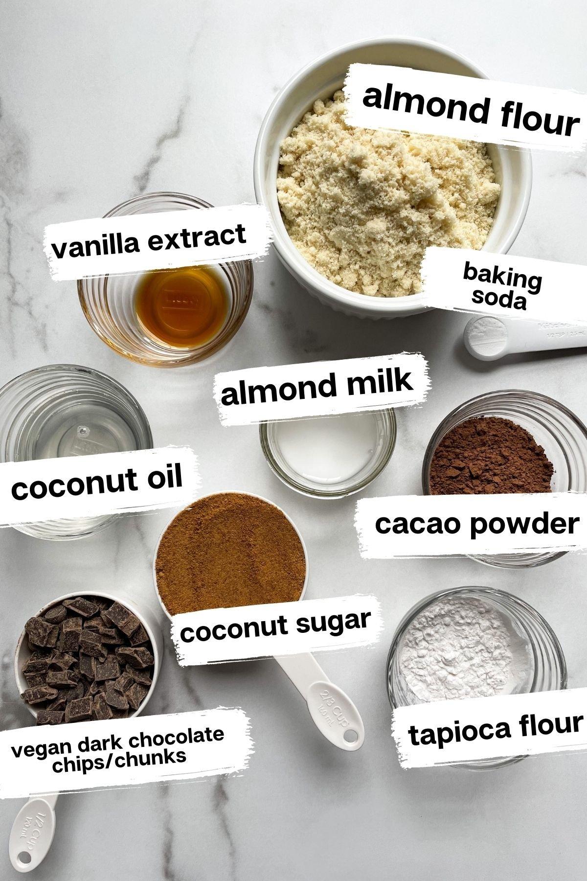 Ingredients in Vegan Double Chocolate Chip Brownie Cookies