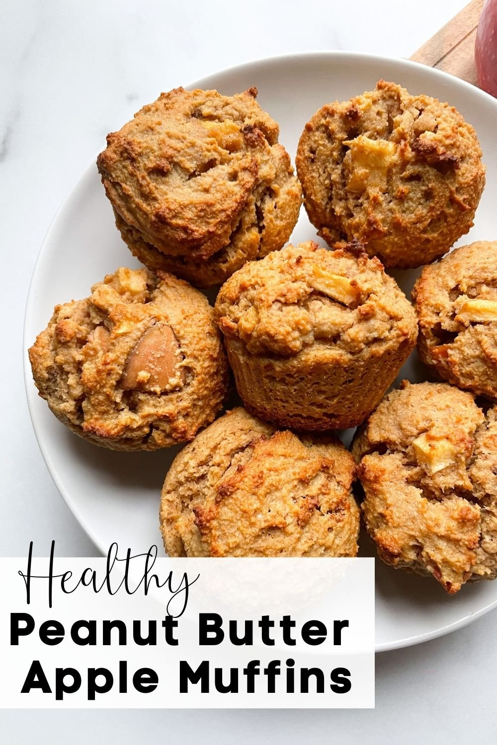 Healthy Peanut Butter Apple Muffins on plate with text overlay